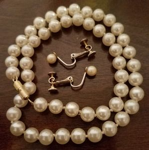 Marvella Faux Pearl Earring & Necklace Set